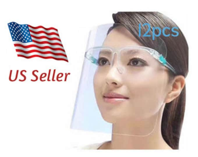 12PCS Face Shields Set with Replaceable Anti Fog Shields Transparent Mask Reusable Glasses for Man and Women to Protect Eyes and Face