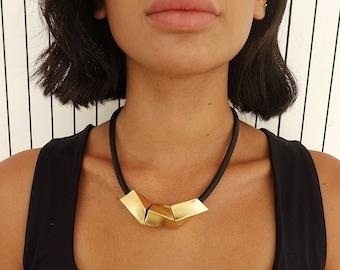 Black and gold statement necklace, Geometric  bib necklace