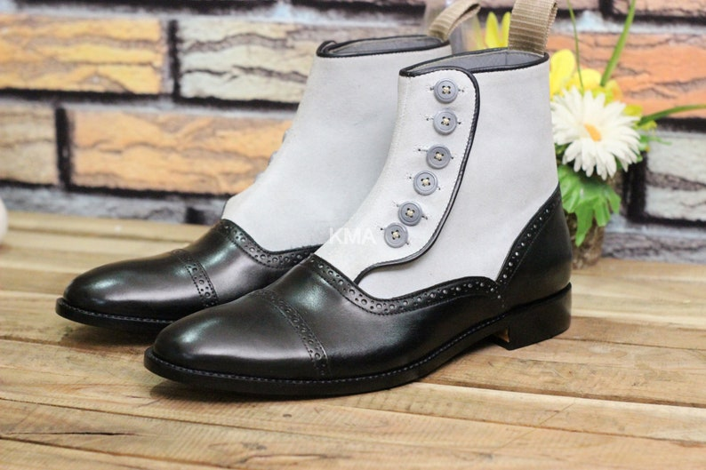 Steampunk Boots and Shoes for Men Mens Handmade Leather Suede Cap Toe Button Boot Men Two Tone Black Gray Stylish Boot $99.99 AT vintagedancer.com