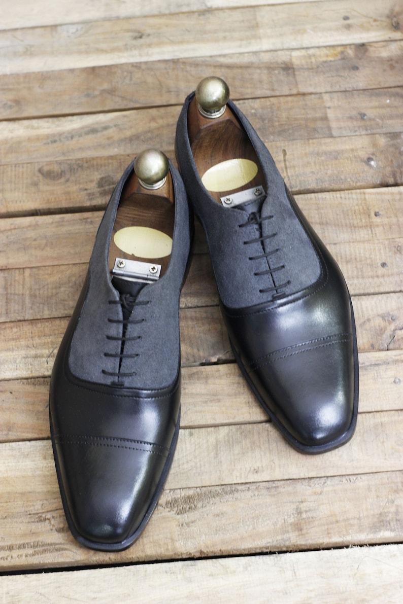 Edwardian Men's Shoes & Boots | 1900, 1910s     Handmade Leather Men Gray Black Lace up shoes Men Cap Toe Dress Shoes $89.99 AT vintagedancer.com