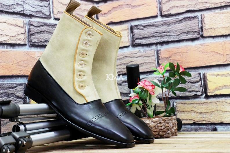 Edwardian Men's Shoes & Boots | 1900, 1910s     Handmade Mens Leather Suede Cap Toe Button Boot Men Black Button Boot Button boot Handcraft Ankle Boot $165.00 AT vintagedancer.com