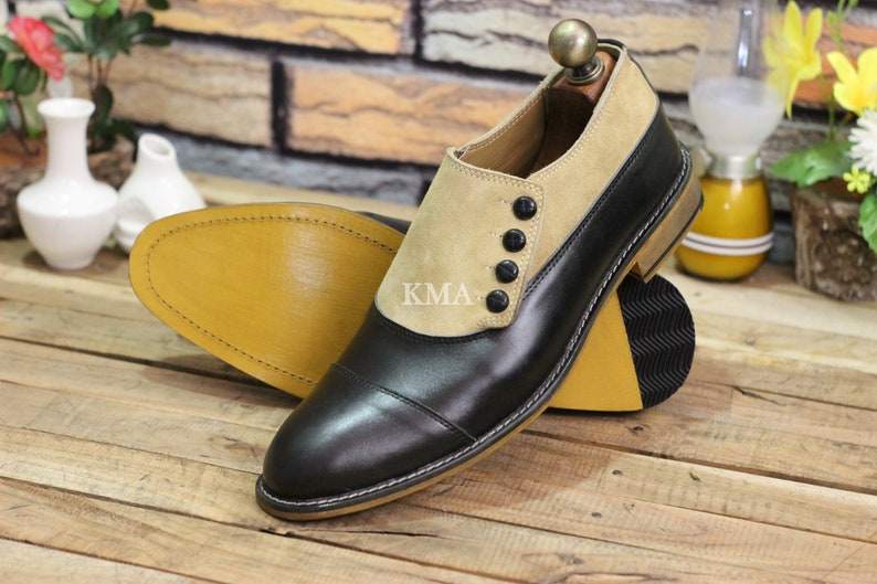 Edwardian Men's Shoes & Boots | 1900, 1910s     Handmade Mens Two Tone Leather Suede Cap Toe Button Boot Men Formal Stylish Black Beige Leather Shoes $89.99 AT vintagedancer.com
