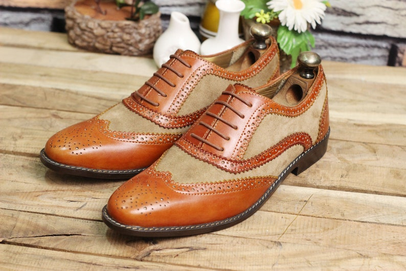 Men's 1950s Shoes Styles- Classics to Saddles to Rockabilly     Handmade Leather Men Two Tone Wingtip Lace up shoes Men Luxury Leather Stylish Shoes $89.99 AT vintagedancer.com