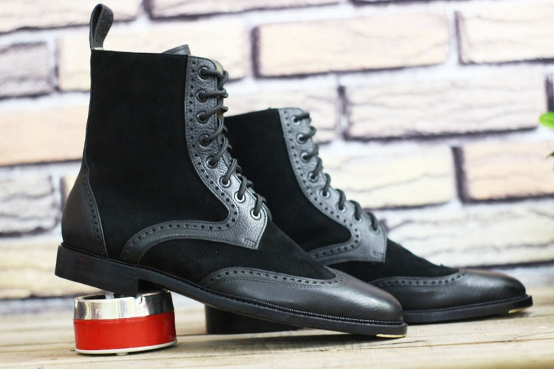 Steampunk Boots and Shoes for Men     New Handmade Leather Black Lace Up Wing tip Brogue Ankle High Boot Men Stylish Comfortable Boot $229.99 AT vintagedancer.com