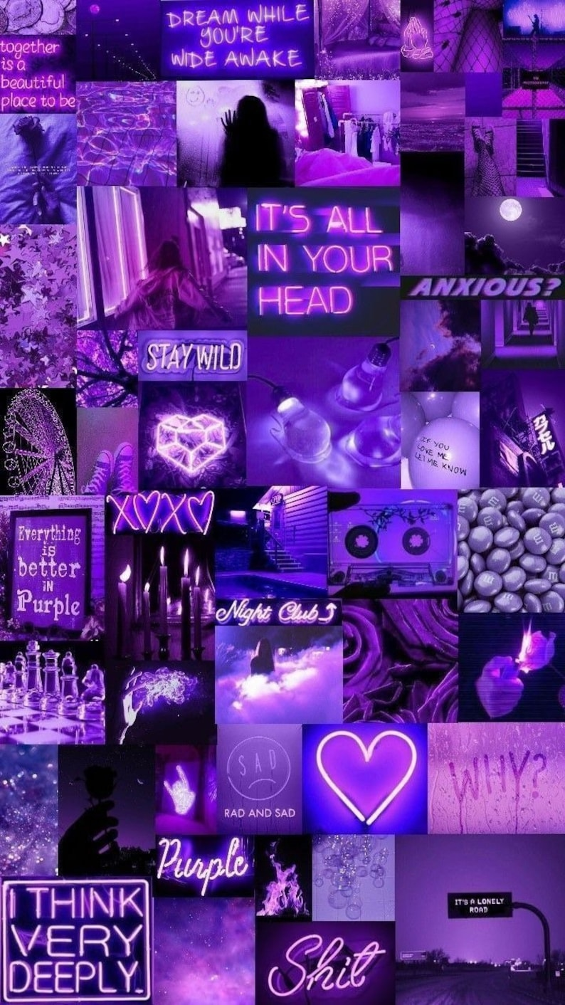 Purple Aesthetic wall photo collagepurple vibe wall