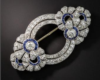 Antique French Diamond, Art Deco Brooch, Engagement Brooch, Christmas Brooch, French Art Deco Diamond Sapphire Brooch
