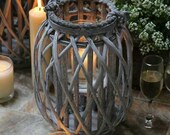 Rustic Wicker Willow Lantern - Candle T light holder with Hurricane glass Jar  - decorative - Grey Wash - Shabby Chic