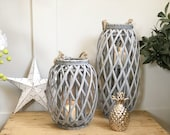 Rustic Wicker Lantern And Individual  - Grey wash , willow , Indoor or outdoor lanterns , Mothers day gift