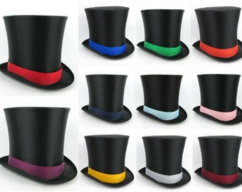 """8"""" SATIN TOP HAT with Ribbon - Costume for Victorian Mad Hatter Abraham Lincoln Vampire Ringmaster Magician Cabaret Dancer Stovepipe"""