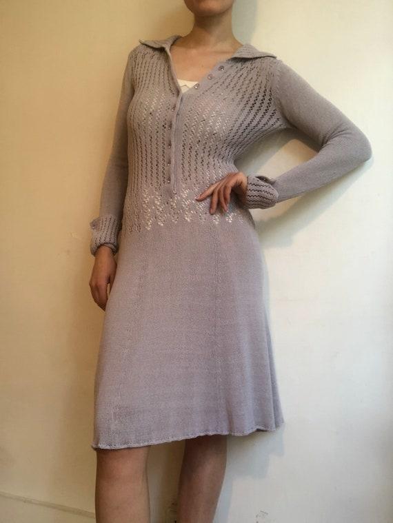 Malene Birger silk crochet dress in lavender