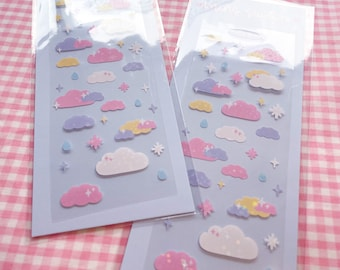 Cloud Deco stickers, Polco stickers, Korean stickers, Cute Journal sticker sheet, Kpop Journal stickers, holographic stickers