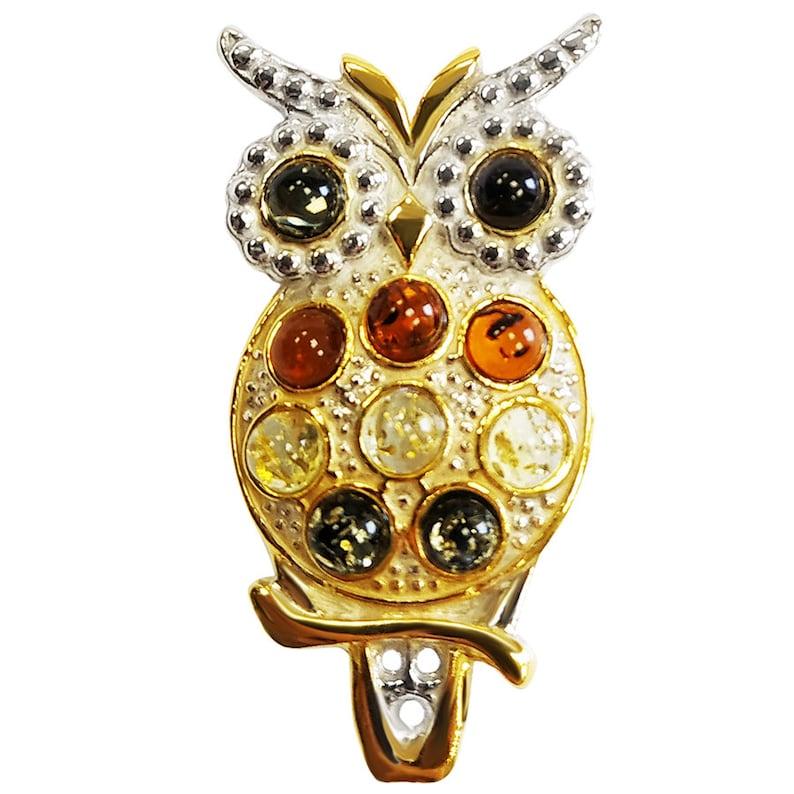 Owl Amber present decoration silver handmade
