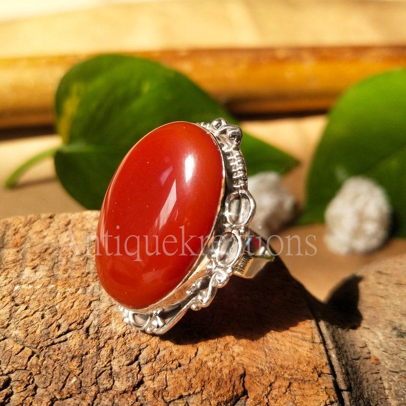 Natural Carnelian Ring-Handmade Silver Ring-925 Sterling Silver Ring-Gift for her-Designer Oval Ring-Natural Stone-Promise Ring silver gift