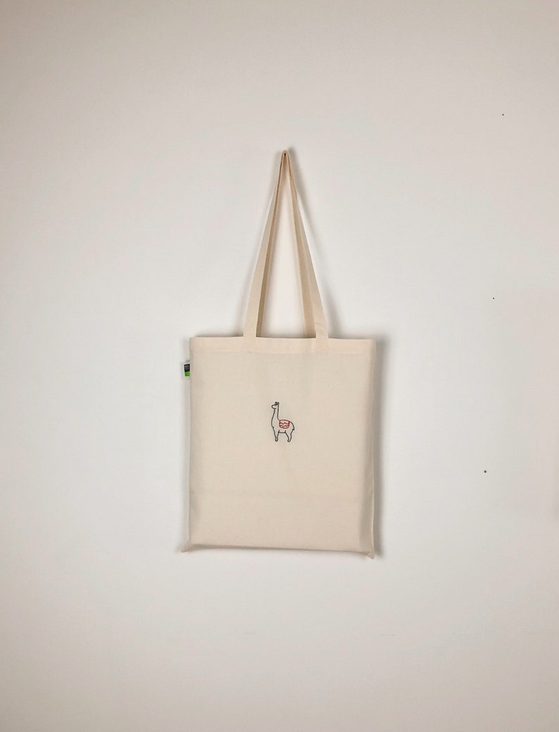 Hand embroidered organic jute bag with Lama motif  fabric bag  pouch  jute bag  tote bag  fabric bag
