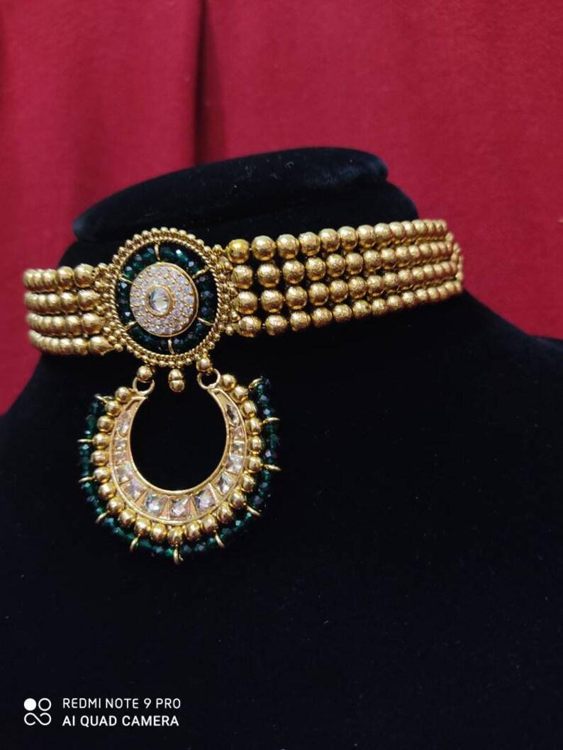 Adjustable Necklace Indian Necklace Choker Kundan Jewellery Set Meenakari Jewellery