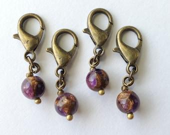SINGLE   Progress Keeper Purple Bronze Orb Stone   Handmade Beaded Charm for Knitting or Crochet