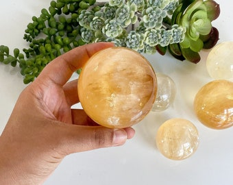 Optical Honey Calcite Sphere with Rainbows, Amber Calcite, Golden Calcite Sphere, Optical Honey Calcite Crystal Balls, Honey Calcite