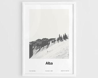 Alta Print, Alta Utah Poster, Alta Wasatch Mountains Utah Travel Poster Wall Art Minimalist Custom City Print by Artica