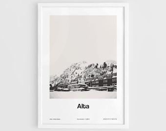 Alta Utah Poster, Alta Print Wasatch Mountains Alta Town Travel Poster Wall Art Minimalist Custom City Print by Artica