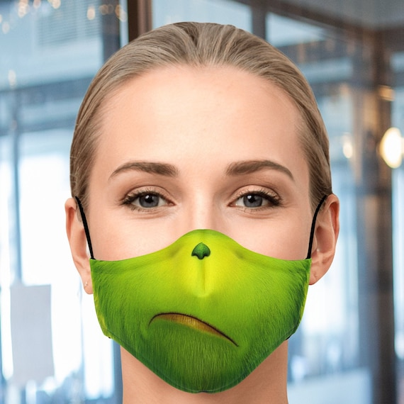 The Grinch Face Mask With Filter Unisex Face Mask With Etsy