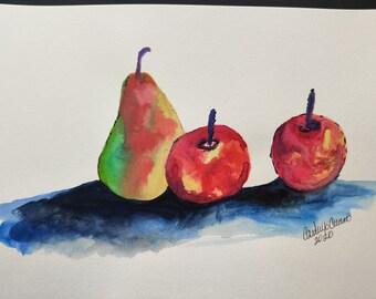 Apples, food art, fruit art, watercolor art on paper, realistic art, watercolor, watercolor painting, watercolor art
