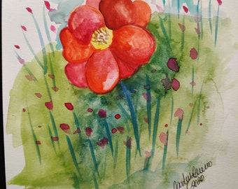 watercolor poppy, watercolor art on paper, realistic art, floral painting, flower art, watercolor, watercolor painting, watercolor art