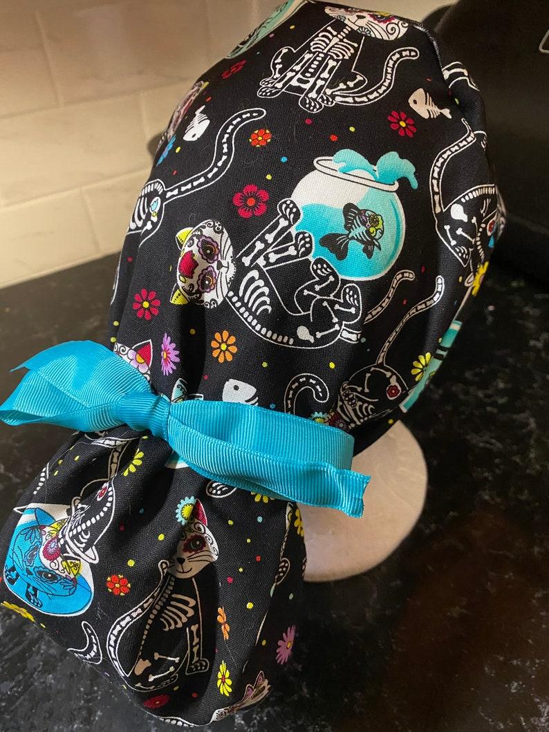 Cat Scrub Hat-Cat Skeleton Scrub Cap-Cat Surgical Cap-Ponytail Scrub Hat-Sugar Skull Scrub Hat-Cat-Skeleton Scrub Cap-Sugar Skull Scrub Cap