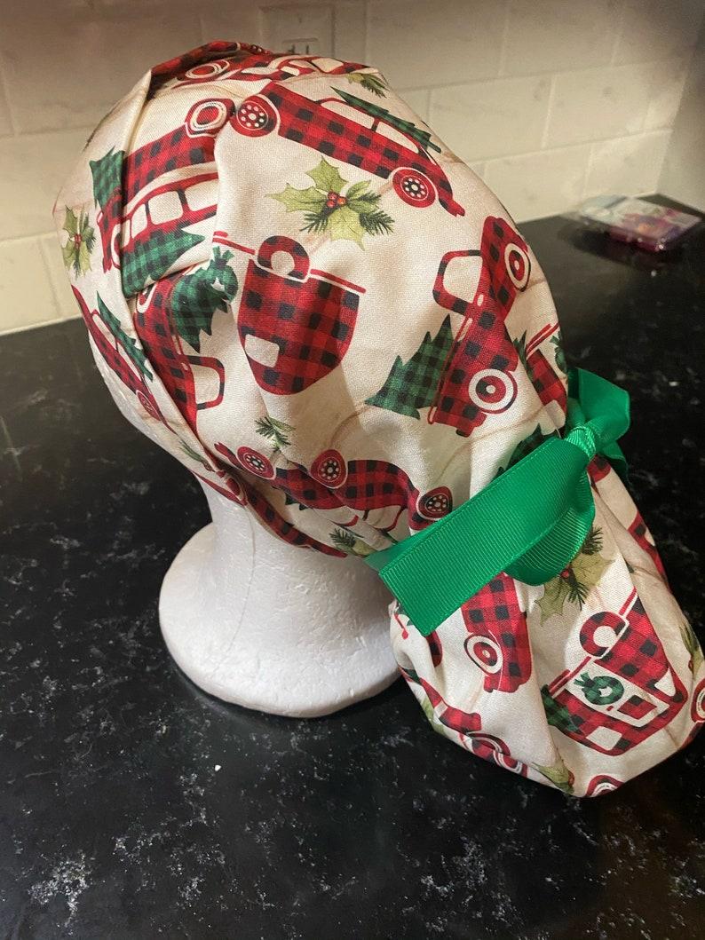 Surgical Cap-Christmas Tree Scrub Cap Camper Scrub Cap Buffalo Plaid Scrub Hat-Christmas Scrub Cap-Winter Scrub Hat-Winter Surgical Cap