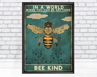 A1 A2 A3 A4 A5 Honey Bee Farm  Vintage Art Print Poster