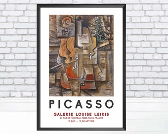 Violin and Grapes 1912 by Pablo Picasso, Pablo Picasso art Print, Exhibition Poster - Gift Idea - Wall Art Poster Print - Sizes A2/A3/A4