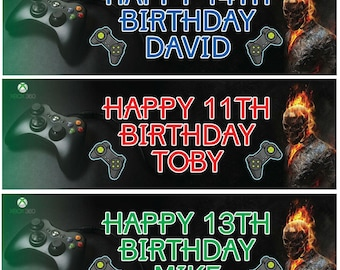 2 Personalised Birthday Banner Play Station Game Children Kids Party Poster Decoration