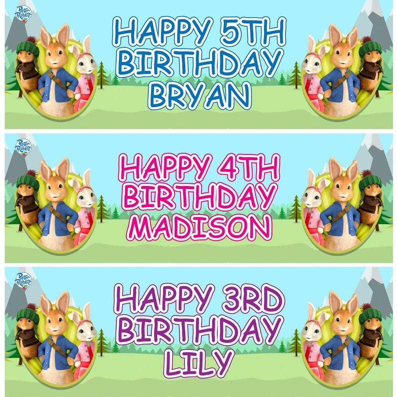 x2 Personalised Birthday Banner Rabbit Children Kids Party Decoration Poster