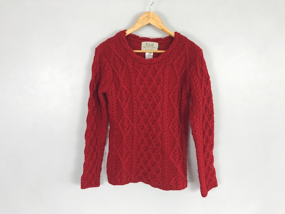 Women's Traditional Aran Red Color Knit Wool Sweat