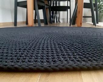 Anthracite Grey carpet Round rug Many sizes Scandinavian rug Handwoven rug Scandinavische teppich Living room carpet Many colors Tapi rond