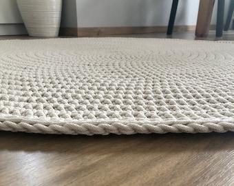 Many Colors Many Sizes Handmade Ecru Cream Large Crochet Rug Washable Rug Natural Carpet Cotton Rug Modern Rug Round rug Circle carpet Tapi