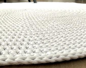 Modern round rug White carpet Round area rug Nursery Rug Skandinavische Teppich rund alfombra trapillo Large Crochet floor Rug Circle carpet