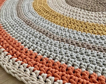 Round rug Round carpet Orange Beige Bright Spring Many colors Many sizes Scandinavian rug Handwoven rug Crochet rug Scandinavische teppich