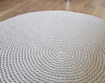 Sand beige chunky round rug Many colors Many sizes Scandinavian floor rug Handmade Modern rug Nursery gift Crochet rug Round carpet Natural