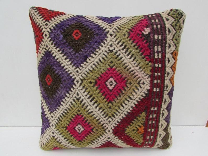 boho pillow  organic kilim pillow  turkish pillow  16x16 oriental pillow  wool pillow  turkey pillow  bedding pillow