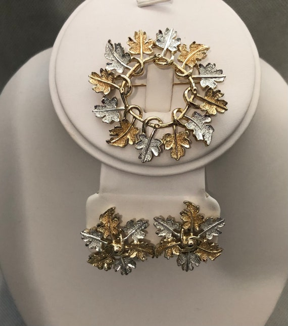 Vintage Sarah Coventry silver gold leaf jewelry se