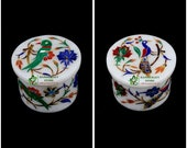 White Marble Trinket Box with Marquetry Art Beautiful Accessorie Box for All Time Gift in from Indian Art and Crafts Parrot Peacock Design