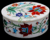 Decorative Marble Jewelry Trinket Rectangle Box Marquetry Inlay Occasional Gift Decor