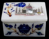Decorative Marble Jewelry Trinket Rectangle Box Marquetry Inlay Occasional Gift Decor Tajmahal design Special Gift For Her