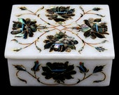 White Marble Jewelry Box Multi Semi Precious Gem Stones Floral Marquetry Inlay Wedding Gifts