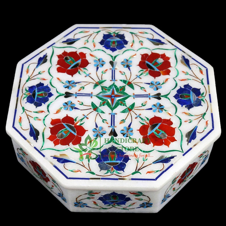 White Marble Jewelry Box Lapis Carnelian Floral Inlay Marquetry Works Wedding Gift