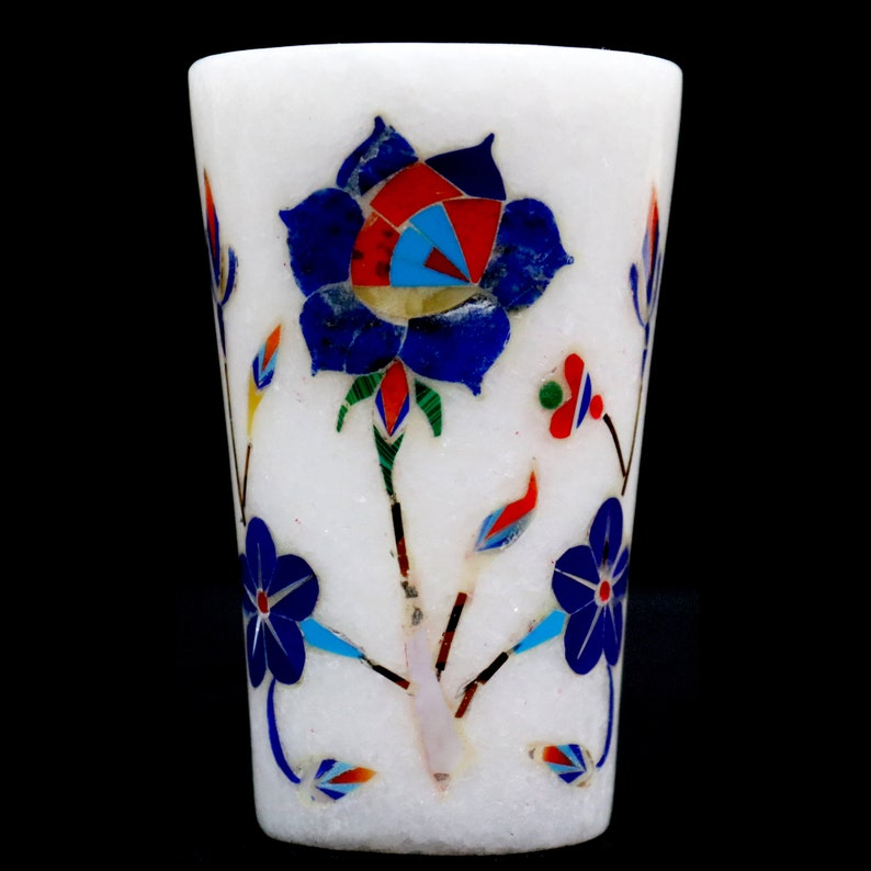 Marble Inlay Taquila Shot Glass For Bar Restaurant Home Decor 3 Tall