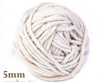 0.50EUR/meter 10 meter cotton cord 5 mm smoke white suitable for macrame, decoration, crafting, etc. DIY 0.50EUR/meter