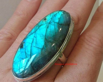 Labradorite Ring, Natural Labradorite, Handmade Ring, Big Stone Ring, 925 Silver Ring, Gemstone Ring, Boho Ring, Unique Ring, Gift For Her