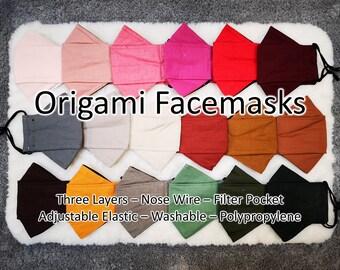 Black three layer cotton,mesh .Nose wire,Pocket filter,Adjustable Elastic