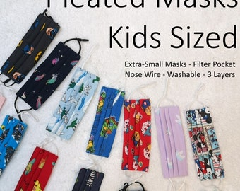 EXTRA SMALL KlDS MASKS! Nose Wires, Filter Pockets and Adjustable Elastics 3 Layer High Quality Face Masks!